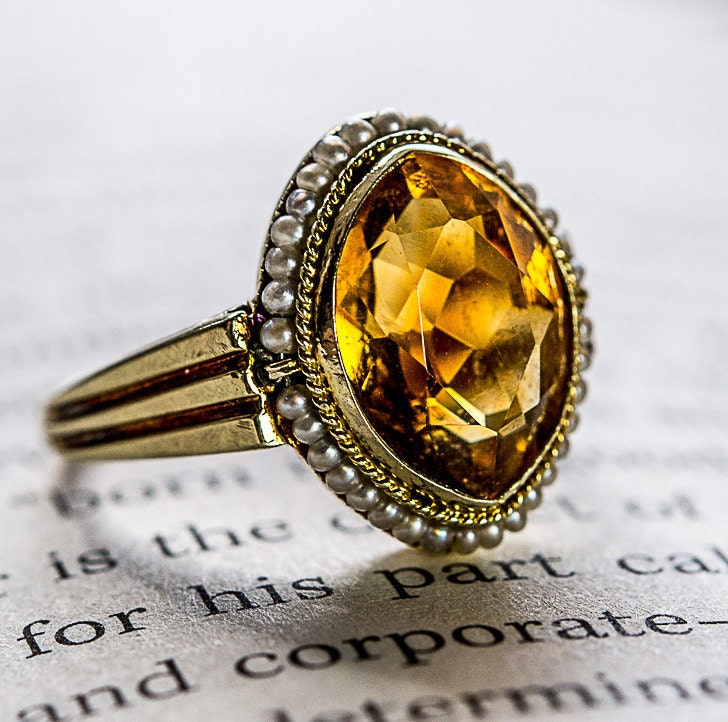lovely antique 14k gold citrine ring with seed pearls size 5