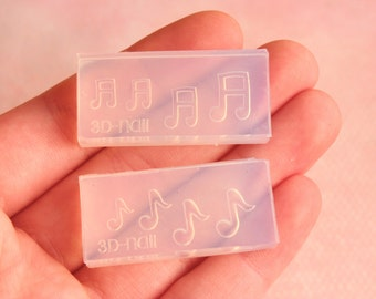 2 pc Music Notes Mold Set Kawaii Flexible Clear Silicone