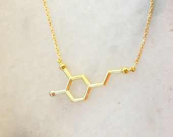 Rose Gold Dopamine Necklace ~ 14K Gold Fill Silver Dopamine Molecule Necklace ~ Mothers Day ~Birthday Gift ~ Valentines Day ~ Christmas gift