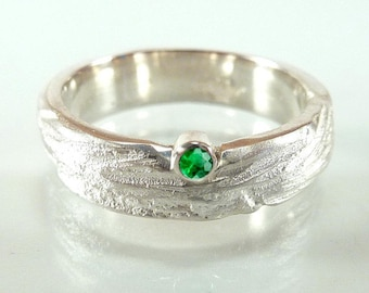 Sterling silver ring with emerald - unique structure, application ring, stacking ring - handmade by SILVERLOUNGE