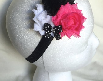 Pink, black and white Shabby Flower Headband