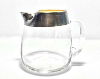"""Large 64 Ounce Dorothy Thorpe Vintage Silver Band Ice Rim Pitcher, 6.5"""" High with 64 Ounce Capacity"""