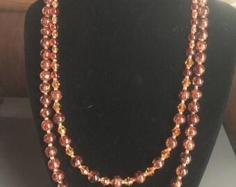Multi-strand Burnt Orange Necklace