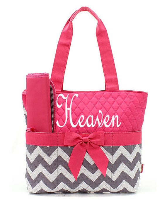 monogram diaper bag personalized chevron pink by sewsassybootique. Black Bedroom Furniture Sets. Home Design Ideas