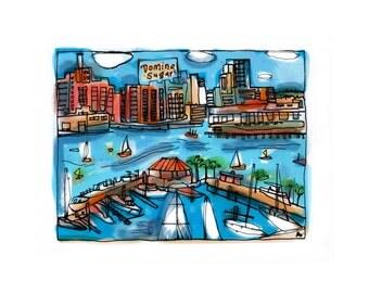 Baltimore Summer/8.5x11/colorful print/Baltimore Art