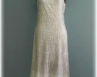 Designer Mollie Parnis Vintage One shoulder Sequined Evening Dress