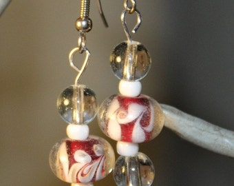 Red and White Drop Earrings