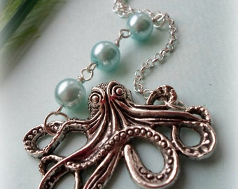 Octopus Necklace - Silver Plated, Imitation Pearls, Simple Everyday Style