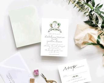 Watercolor Crest Custom Wedding Invitations Sample
