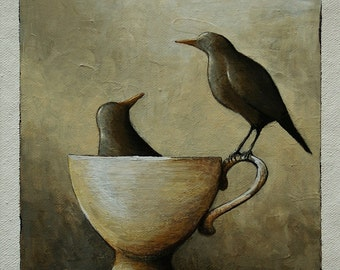 Black birds painting, tea cup and bird painting, bird wall art, home decor, original art, 6 x 6 inches acrylic painting within a 11x14 mount