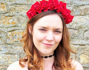 Amelia Carnation Headband (Red)