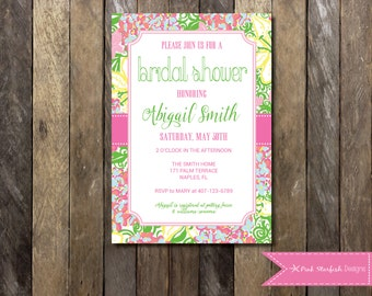 Lilly Pulitzer Bridal Shower Invitation, Bridal Shower, Lilly Pulitzer Invitation, Preppy Bridal Shower, Wedding, Couple, Bachelorette, Hen