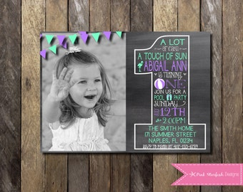 First Birthday Invitation, Chalkboard First Birthday, 1st Birthday Invitation, Beach Party, Pool Party, Swim Party, Summer, Digital