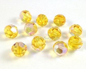 8mm LIGHT TOPAZ AB 5000 Swarovski Crystal Round Beads 12 pieces