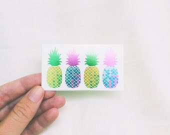 colorful metallic tattoos pineapple temporary tattoos best friend christmas gift for her stocking stuffer for teens tropical fake tattoos