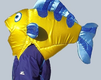 Flounder Fish Head Costume  Fits Adult or Child  Satin covered foam head with underarm ties, lined
