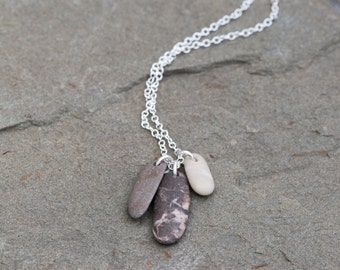 Beach Stone Necklace Sterling Silver Chain. Natural Beach Pebble Pendant, Beige and Brown Necklace. Drilled Beach Stone Pendant Necklace