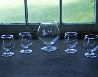 "Five Piece Martini/Brandy/Cocktail Set ~ Etched ""His"",""Hers"" and ""Ours"", ~ Snifter/Pitcher & Four Glasses ~ Clear Glass"