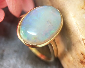 ONE-OF-A-KIND: 3.26CT Australian Opal <Bezel> Solid 14K Yellow Gold (14KY) Colored Stone Ring *Fine Jewelry* (Free Shipping)