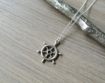 Sterling Silver Captains Wheel Necklace, Nautical Necklace