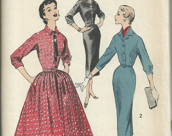 1950s dress pattern // vintage Advance 8128 dress pattern Size 15 Bust 35