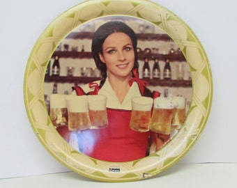Corona Beer Tray  ~ Lovely Bar Maid Serving CORONA Beer ~ Corona Cerveza de Barril Beer ~ 1960s Era ~ 13 inch Tray ~ Mid Century Barware