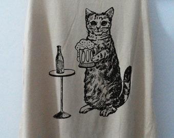 Cat Love Beer Shirt -- Cat Shirt Cat T-Shirt Animal Shirt White Shirt Women Shirt Tank Top Women Tunic Top Vest Sleeveless Size S,M,L