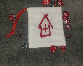 Safe House Hand Embroidered And Hand Sewn Drawstring Dice Bag inspired by Left For Dead Video Games