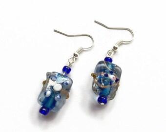Blue Lampwork Glass Bead Earrings Blue Glass Earrings Blue Dangle Earrings Blue Glass Bead Drop Earrings (E226)