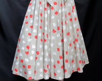 Vintage Full Circle 1980's Floral Print Summer Cotton 50's Style Skirt Size 10 small
