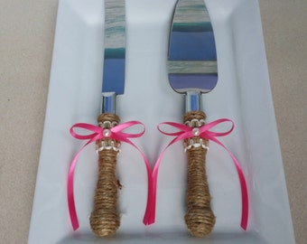 Rustic Cake Knife and Server Set - Your choice of ribbon color - Burlap and pearl- Rustic Beach Coastal Country Chic Wedding
