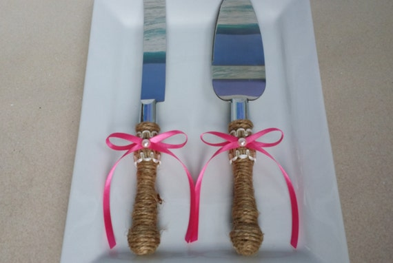 rustic wedding cake knife set uk rustic cake knife and server set your choice of ribbon color 19542