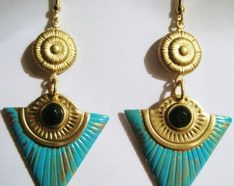 Egyptian earrings Art Deco Egyptian Revival vintage 1920s 1930s style long turquoise earrings statement jewellery gold filled hooks