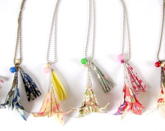 Origami flower necklace - liberty tassel - paper jewelry - liberty of london - several colors