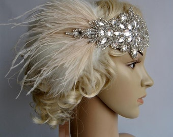 Ready to ship Glamour Rhinestone flapper Gatsby Wedding Crystal Headband Wedding Headpiece, Bridal Headpiece, 1920s Flapper feathers