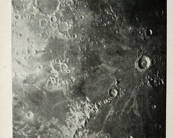 1891 Antique print of LUNAR CRATERS. Craters of the Moon. Astronomy. 124 years old photoengraving print