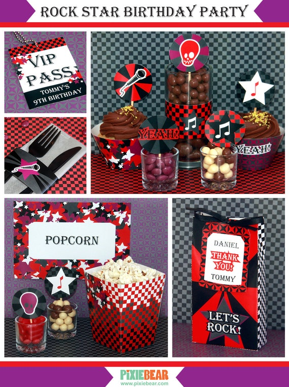 rock star birthday rockstar party rockstar birthday decorations rock star party printables. Black Bedroom Furniture Sets. Home Design Ideas