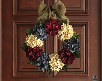 Americana Decor | July 4th Wreath | Red, White, and Exclusive Denim Blue Hydrangeas | 4th of July Wreath | Front Porch Decor