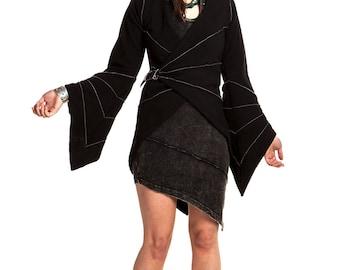 PIXIE WRAP FLEECE, gothic pixie coat, angel sleeve fleeve, wizard fleece, long pixie hood jacket, black gothic coat, xl psy trance tailcoat