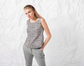 Cotton Summer Pants \ High Waisted Women Pants \ Gray Pants