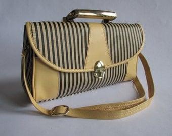 WINTER SALE! 80s Preppy Handbag with Shoulder Strap & Top Handle | Striped Bag Preppy Gifts Top Handle Bag 80s Purse