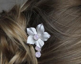 Peigne mariage cheveux fleur de soie et cristaux roses opal- Bridal silk flower and rose water opal rhinestones haircomb