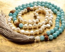Tassel necklace | Bohemian necklace | Aquamarine mala beads | Mermaid mala necklace | Wedding mala Sky blue | Throat chakra yoga Pretty mala