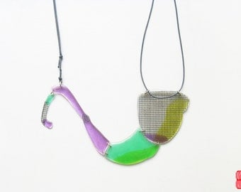 Organic Freeform Necklace, Green Purple Necklace, Whimsical Modern Necklace, Accent Quirky Plastic Necklace, Avant Garde Necklace, Gift Her