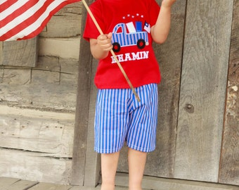 Boy 4th of July Patriotic Truck Shirt with Embroidered Name