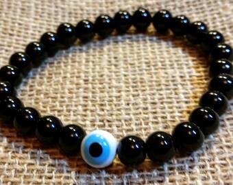 Mens Bracelet, Mens Black Bracelet,Third Eye Bracelet