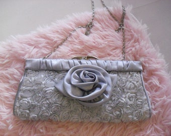 Clutch bag with silver roses shabby chic