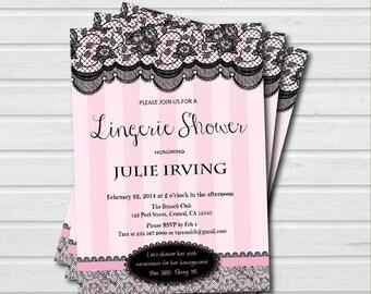 Lingerie shower invitation. Bachelorette party. Pink and black lace Printable digital  invitation. Lace corset. Digital file. LS004