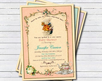 baby shower tea party invitation. Baby girl shower. Vintage coral pink turquoise. Mad hatter. Alice in wonderland baby shower invite B100