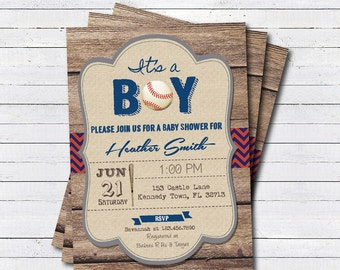 Rustic baseball baby shower invitation. It's a boy, baseball sport theme rustic wood couple's baby shower. printable invite B106